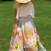 Floral Maxi Split Skirt - High Side Splits, Long Skirt, Vintage Maxi Skirt, Orange & Pink Palm Print