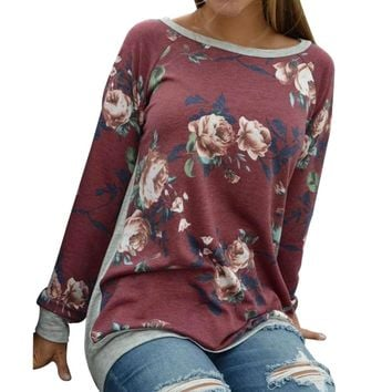 Casual America Street Style Long Sleeve T-shirt Women Autumn Floral Printing Gray Patchwork Shirt O-Neck Tops