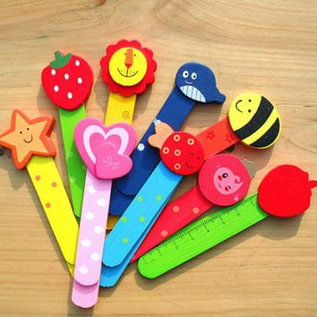 5pcs/lot Stationery Wooden Cartoon Bookmarks Scale Child Wood Bookmark Colorful Cute for Children Student Gift Prize Papelaria