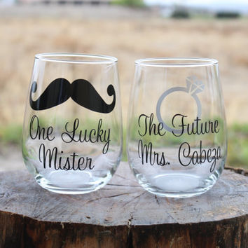 One Lucky Mr. and The Future Mrs. Stemless Wine Glasses - Customized - Mustache and engagement ring - Perfect as a Gift to a Bride and Groom