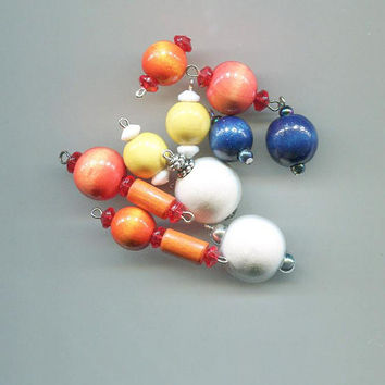 10 wood bead pendants drops mixed lot bead charms wooden pendants big beads #supply2024