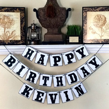 Personalized Happy Birthday Banner, Happy Birthday Banner, Boy Birthday Banner, Rustic Birthday Banner