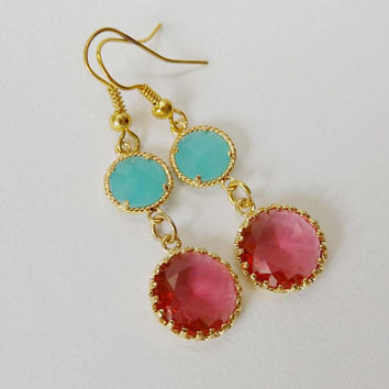 Gl Gem Dangle Earrings Raspberry And Aqua Stones Vintage Style Drop