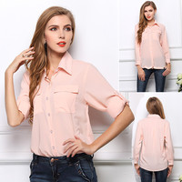 White/Black/Nude Pink Shirt Collar Chiffon Long Sleeve Blouse