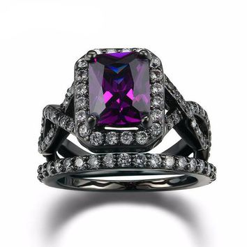 Chenier Black Plated  Sterling Silver Purple Crystal   Ring