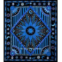 Blue Celestial Sun Moon Stars Planet Tapestry, Indian Hippie Wall Hanging - RoyalFurnish.com