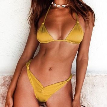 Summer New Fashion Solid Color Straps Two Piece Bikini Swimsuit Yellow