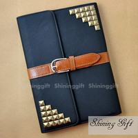 Ipad Mini Case, Ipad Mini Cover, Ipad Case, Ipad cover, Black Leather Ipad mini case Studs
