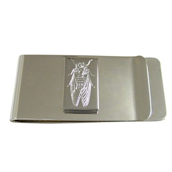 Silver Toned Etched Cicada Bug Money Clip