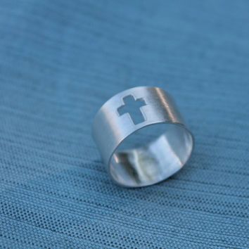 Cross sterling silver ring. Cross. Cigar band style ring. Wide band. satin brushed finish. religious. minimalist. modern