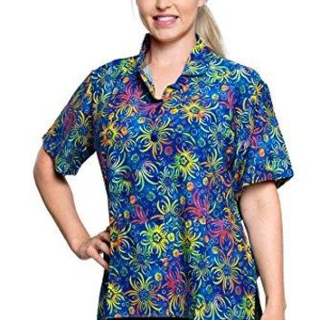 Ladies Hawaiian Shirt Beach Top Casual Tank Blouses Aloha Holiday Button Down