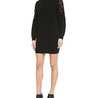 Women's Lindessa Evian Lace-Inset Sleeve Sweater Dress - Theory - Black