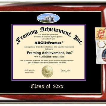AllGiftFrames Custom Diploma Frame Embossed Best Graduation Diploma Frame City College of New York CUNY Degree Frame Double Mat Campus Fisheye Picture Frame Cheap Degree Graduate Gift