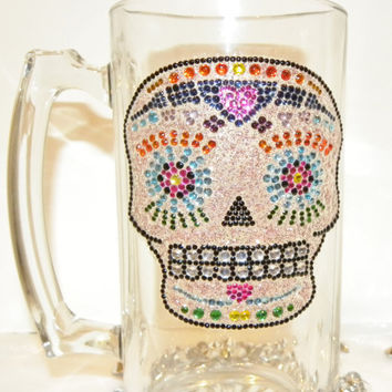 Day Of The Dead Rhinestone Beer Stein