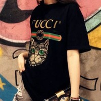 Gucci Women Loose Sequin Cat Embroidery Blouse Top T-Shirt