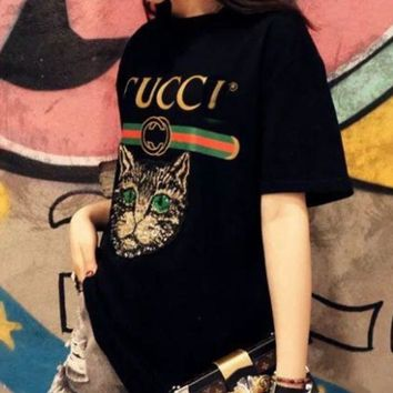 1a36f7a6745 Gucci Women Loose Sequin Cat Embroidery Blouse Top T-Shirt