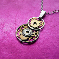 Clockwork Pendant Eights Elegant Intricate Tiny by amechanicalmind