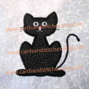 Scary Cat Applique - Halloween Cat Applique - Machine Embroidery Design - INSTANT DOWNLOAD - 4x4 and 5x7 - (7 formats plus SVG included)