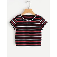Contrast Striped Tee Multi Color Short Sleeve