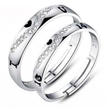 925 Sterling Silver Love Heart 1314 Promise Valentine Ring Couple Wedding Band