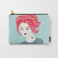Portrait Of A Girl With Pink Hair Carry-All Pouch by Boriana Giormova