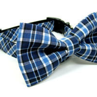 Blue /White Plaid  Dog Collar with bow tie set( X-Small,Small Size)- Adjustable