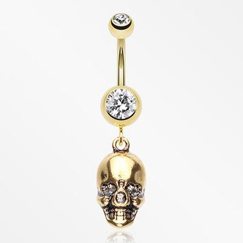 Golden Skull Amour Belly Button Ring