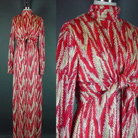 70s Maxi Dress Vintage 1970s Jonathan Logan Bolero Set Flannel Red Feather Print Diva 8 10 M