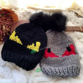 DCCKJG2 new autumn winter little devil eyes Monster pom pom Rabbit fur ball Halloween brand demon eyesfemale wool knitting cap hat