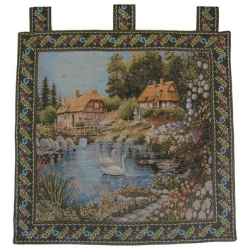 "Village Scene French Country Elegant Woven Fabric Baroque Tapestry Wall Hanging - 36"" x 36"""