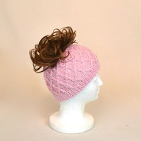Pink Ponytail Hat, Knit Wide Headband Ear Muffs, Honeycomb Runner's Beanie with a Hole