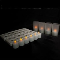 Set of 12 Rechargeable Bright White LED Flameless Tea Lights with Frosted Glass Holders