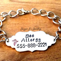 Very Lightweight Medical Alert ID Bracelet, Hand Stamped Medical Bracelet, Allergy Bracelet, ID Bracelet