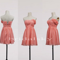 Customer Short Coral One Shoulder Bridesmaid Dresses Beautiful Handmade Flower Prom Dresses