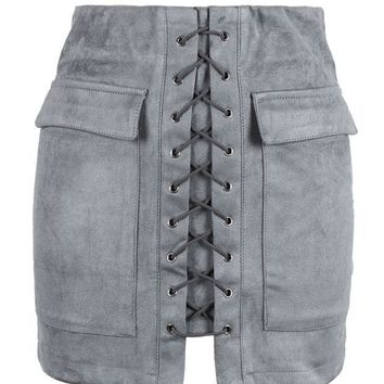 Grey Faux Suede Lace Up Front Pencil Mini Skirt