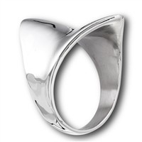Silver Concave Shield Ring