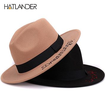 Embroidery letter Panama top hats women wool bowler hat winter Cashmere Gambler Jazz cap for men