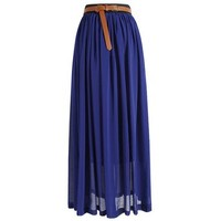 Tobey Vintage Women's Pleated Long Chiffon Waist Maxi Boho Beach Skirt Dress (Royal Blue)necklace included, one size