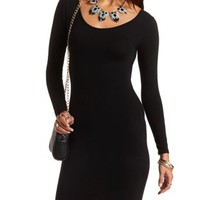 Long Sleeve Cut-Out Bodycon Dress by Charlotte Russe - Black