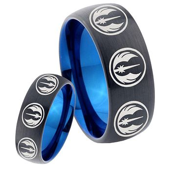 His Hers Multi Jedi Star Wars Dome Tungsten Carbide Blue Wedding Ring Set