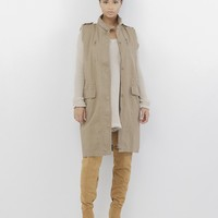 FEMME IN CHARGE Khaki Military Vest at FLYJANE