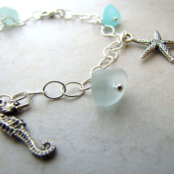 Charm Bracelet Seaglass Sea Glass Seahorse Seashell Ocean Beach Sand Dollar Starfish size 8