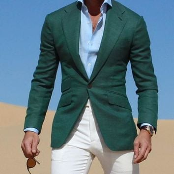 Men's Dark Green Jacket With White Pants Up To 6XL