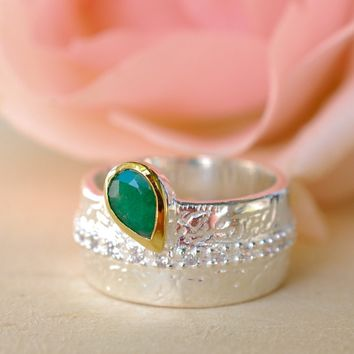 Cubic Zirconia Ring - Emerald (BJR111)