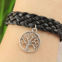 Bracelet--tree of life bracelet,antique silver charm bracelet,black braid leather bracelet