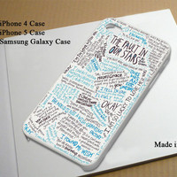 The Fault in Our Stars Best Seller Phone Case on Etsy for iPhone 4, iPhone 4s, iPhone 5 , Samsung Galaxy s3 and Samsung Galaxy s4