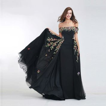 Black Beading Evening Dresses Long Elegant Boat Neck Attachable Train off Shoulder Long Prom Party Dress