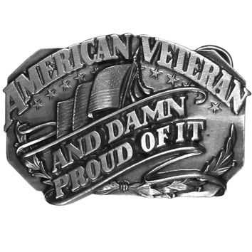 Sports Jewelry & AccessoriesSports Accessories - American Veteran and Damn Proud of it Antiqued Belt Buckle