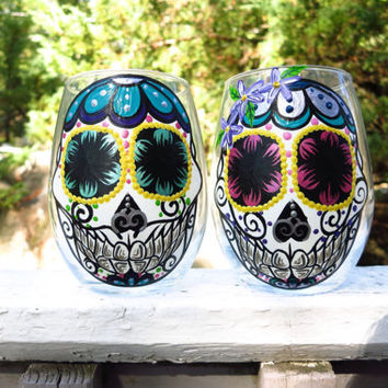 Hand Painted Sugar Skull Couple Stemless Wineglass Set