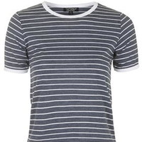 Stripe Contrast Tee - Navy Blue